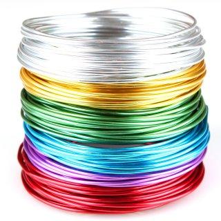 Schmuckdraht-Set Basic - 6 Farben auf Rollen (je 5m) - Aluminium Basteldraht Ø 2mm