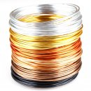 """Beading Wire Set """"Golden Autumn"""": 6 Colors of Artistic Anodized Aluminum Wire for Jewelry, Crafting - 12-gauge, 16 Feet Per Coil."""