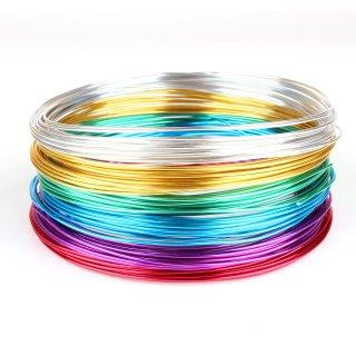Schmuckdraht-Set Basic 6 Farben auf Rollen (je 5m) - Aluminium Basteldraht Ø 1 mm