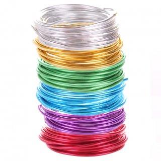 Schmuckdraht-Set Basic - 6 Farben auf Rollen (je 5 m) - Aluminium Basteldraht Ø 4 mm